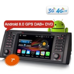 "Erisin ES8839B 7"" Android 8.0 Car Stereo DVD GPS Player WiFi DAB+ DVR CD OBD for BMW 5 Series E39 E53 X5 M5"