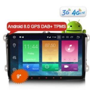 "Erisin ES7491V 9"" Android 8.0 Car Stereo DAB+ DVR OBD 4G TPMS GPS Sat for VW Passat CC Golf Touran Jetta"