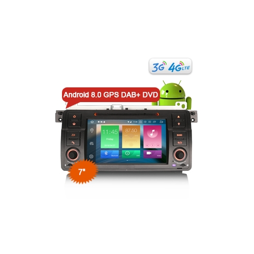 """Erisin ES7446B 7"""" DAB+ Car Radio DVD Player Android 8.0 OS 4G DAB+ TPMS GPS System for E46 M3 Rover 75 MG ZT"""