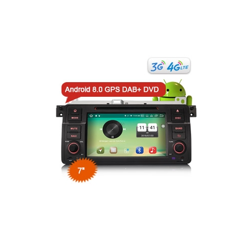 "Erisin ES7346B 7"" Car Radio Android 8.0 DAB+ GPS DVD Player 4G OBD TMPS DVR System for BMW E46"
