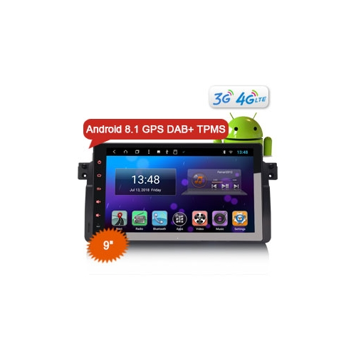 "Erisin ES8296B 9"" Android 8.1 Car Stereo DAB+ GPS Sat 4G DVR OBD TPMS for BMW 3er E46 M3 Rover75 MG ZT"