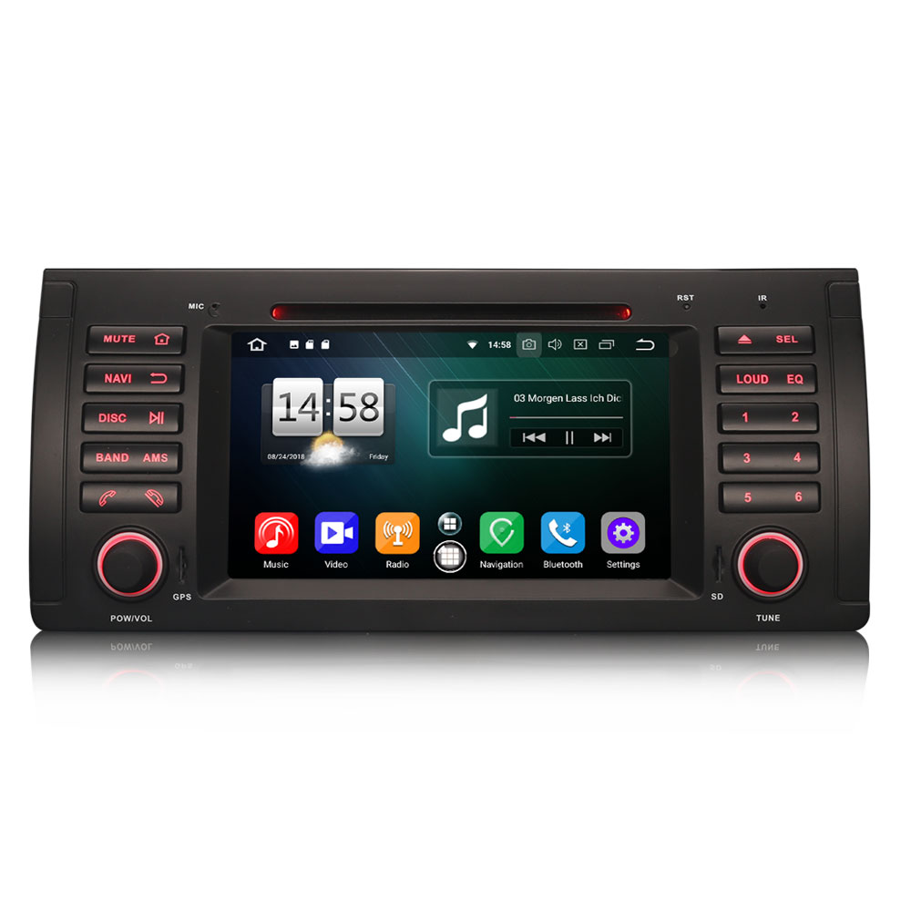 "Erisin ES7539 7"" Octa-Core Android 8.0 Car Stereo DVD CD GPS DTV DAB+ OBD2 for BMW 5 Series E39 E53 X5 M5"